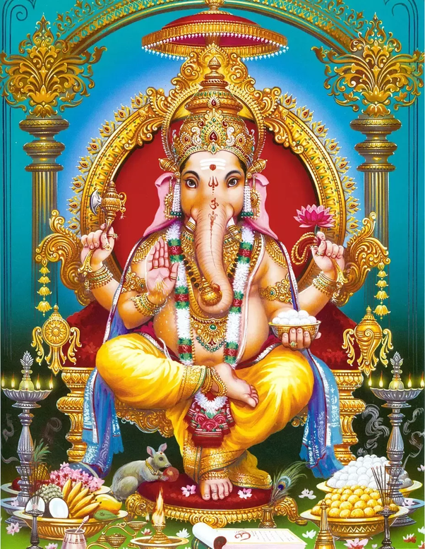 Lord Ganesha seated on his throne with Mushaka and bowls of sweets on the floor