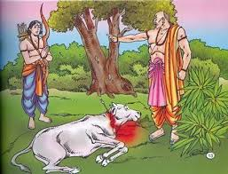 Karna begs the angry Brahmin, the cow is lying dead on the ground