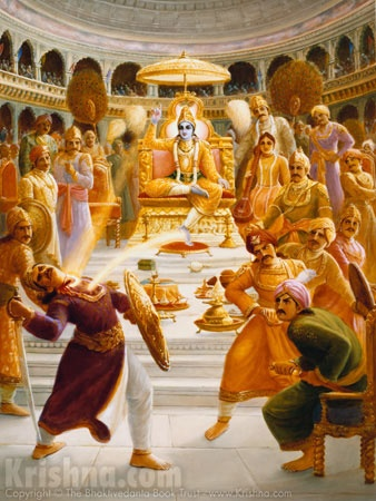 Krishna is sitting on a throne, surrounded by kings and attendants, and he is throwing his Chakra at Shishupal