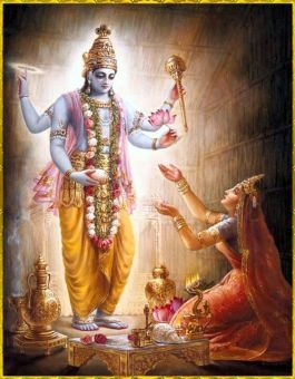 Lord Vishnu presenting himself in front of Aditi and blessing her