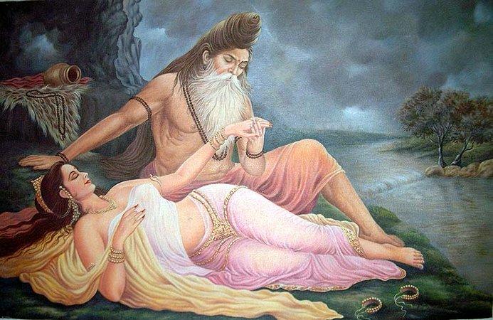 Vishwamitra and Menaka making love on the riverbank