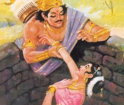 Yayati pulling Devayani out of the well