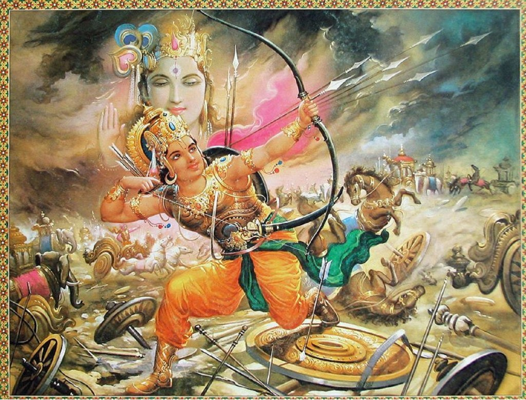 Abhimanyu is holding a bow shooting arrows with a war scene in the background