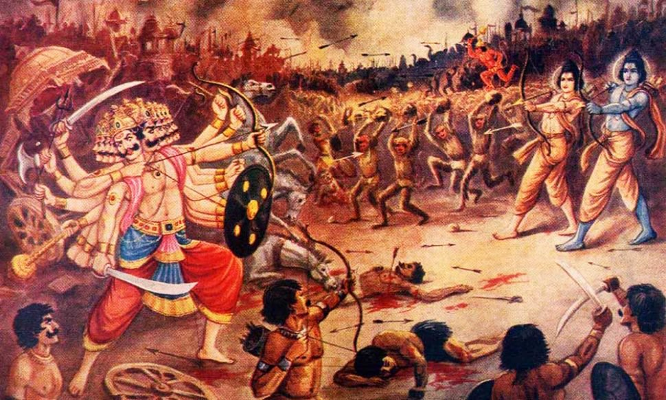 Rama and Lakshmana are shooting arrows at Ravana. In the background, monkeys and Asuras are fighting in the war.