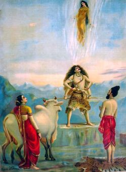 Ganga is descending onto Earth and Shiva is standing there, ready to trap her. Bhagiratha, Nandi, and Parvati are in the background.
