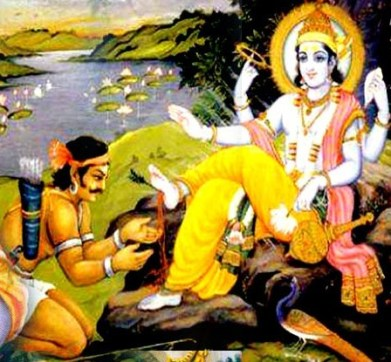 Jara repents in front of Krishna, who blesses him
