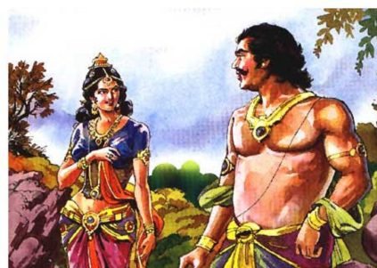 Hidimba approaches Bhima in the form of a human woman with jewelry, Bhima looks at her