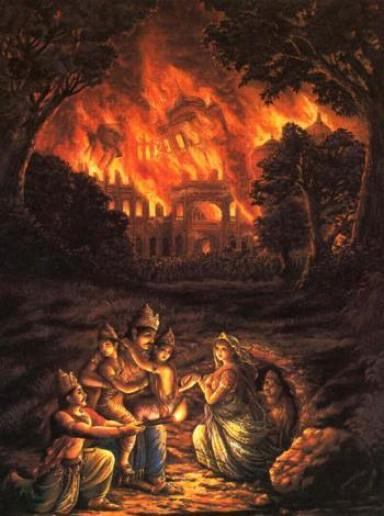Kunti and the Pandavas escape Lakshagraha through the underground tunnel, the palace is burning in the back
