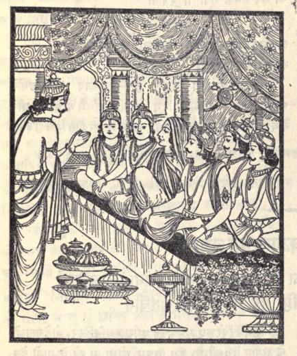 Purochana stands with hands folded in front of Kunit and the Pandavas, who are sitting on a bench with food