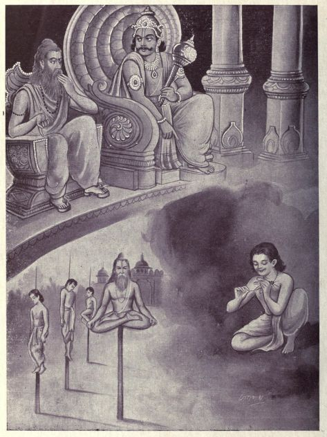 Top: Dharmaraj talks to Mandavya, bottom right: young Mandavya pierces an insect, bottom left: Mandavya meditates on the stake