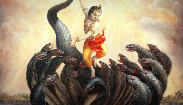 A picture of Lord Krishna dancing on Kaliya Naga