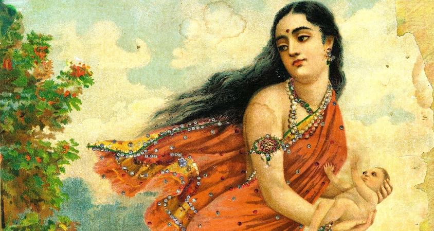 Ganga flies away with baby Devavrata