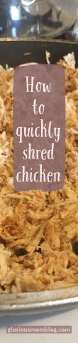 how  to quickly shred chicken: learn how to save time in the kitchen with my secret weapon! Check it out at gloriousmomblog.com.