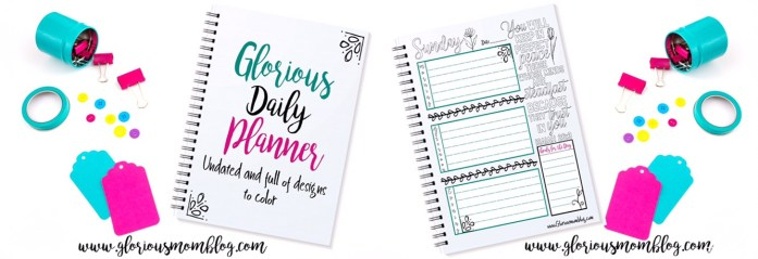 Check out the Glorious Daily Planner! Seven printable designs, one each for the days of the week, undated so you can use it over and over. Each day includes a unique Bible verse for you to color. It also includes a blank monthly calendar page. Get your week organized while meditating on the Bible and expressing your creative side! Only $4.99 at the Glorious Mom Store: https://the-glorious-mom-store.myshopify.com/products/glorious-daily-planner