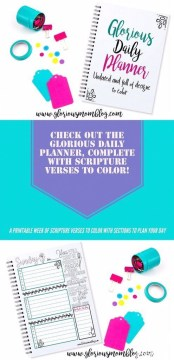 Check out the Glorious Daily Planner! Seven printable designs, one each for the days of the week, undated so you can use it over and over. Each day includes a unique Bible verse for you to color. It also includes a blank monthly calendar page. Get your week organized while meditating on the Bible and expressing your creative side! Only $4.99 at the Glorious Mom Store: