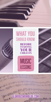 What you should know before starting your child on music lessons: Music lessons for kids can be tricky because you want them to love it and do well, but you don't want to push them. Read my tips for understanding how to get your child to connect with piano or guitar lessons at gloriousmomblog.com.