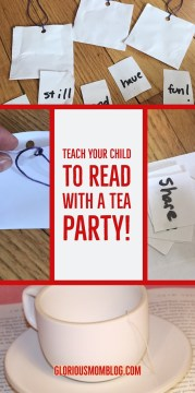 Teach your child to read with a tea party: creative reading activity for 1st graders! Perfect for homeschooling or just supplemental practice at home. Read it at gloriousmomblog.com.