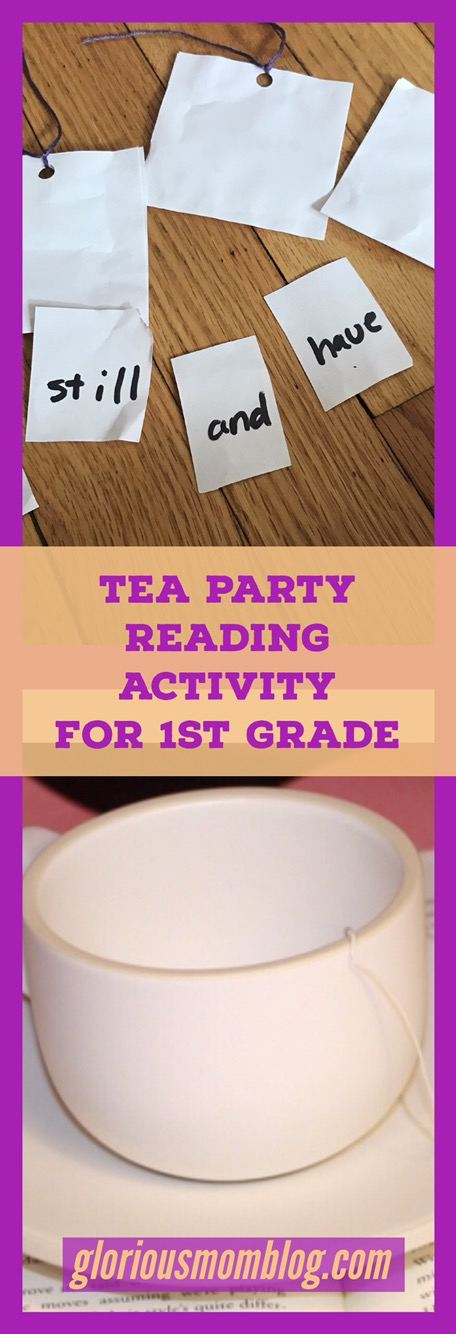 Teach your child to read with a tea party: fun and creative reading activity for first graders! Perfect for homeschooling or just supplemental practice at home. Find the activity at gloriousmomblog.com.