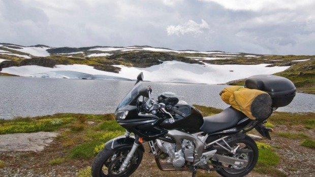 Summer motorcycle touring in Norway: Expect snow in summer at the top of Norway. (Photo: David McGonigal)