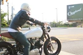 man with motorcycle in Cleveland