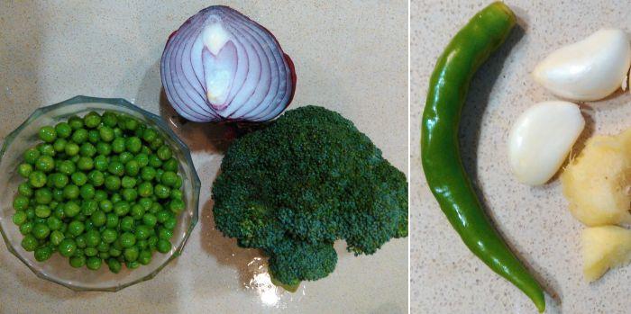 Broccoli and green peas vegetarian soup's major ingredients
