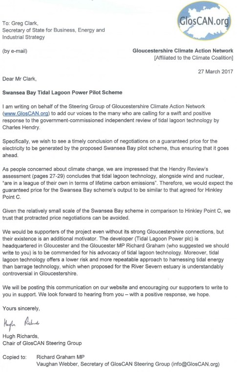 Letter to Dept for BEIS about tidal power