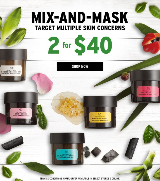 The Body Shop Canada Mix and Mask Expert Facial Masks Event Sale - Glossense