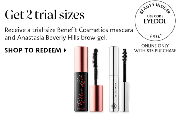 edeb65598d2 Sephora Canada EYEDOL promo code Free Benefit Rollerlash Mascara and ABH  Brow Gel Offer - Glossense