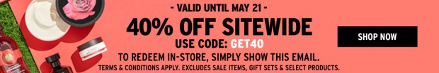 The Body Shop Canada Long Weekend May 24 2018 Sale - Glossense