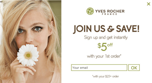Yves Rocher Canada Sign up to Newsletter Offer Coupon Code Promo Code - Glossense