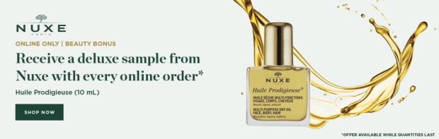 Beauty Boutique Canada Free Nuxe Huile Prodigieuse Skin Face Body Hair Oil - Glossense