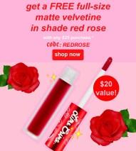 Lime Crime Canada Free Matte Velvetine Liquid Lipstick Lippie Red Rose Day - Glossense