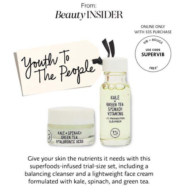 Sephora Canada Beauty Insider Perks Free June 2018 Rouge Gift VIB Gift Free Youth to the People Kale Green Tea Set - Glossense