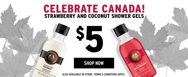 The Body Shop Canada Celebrate Canada Strawberry and Coconut Shower Gel Canadian Sale - Glossense
