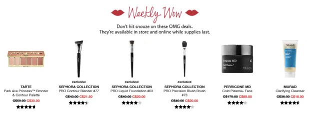 Sephora Canada Week of Wow Weekly Canadian Deals July 26 2018 - Glossense