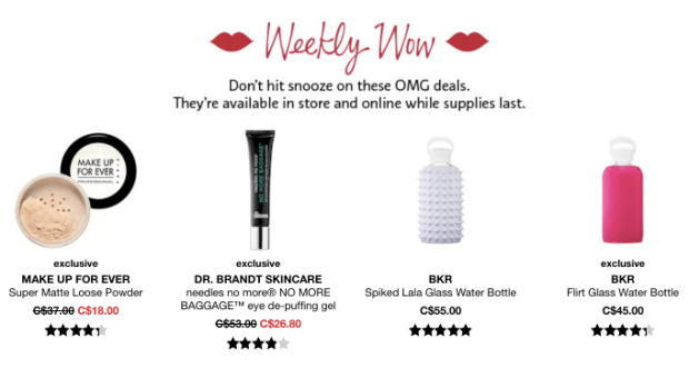Sephora Canada Week of Wow Weekly Canadian Deals August 16 2018 - Glossense