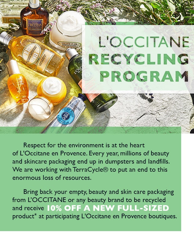 L'Occitane en Provence Canada Recycle Old Beauty Product Packaging Receive Canadian Discount - Glossense