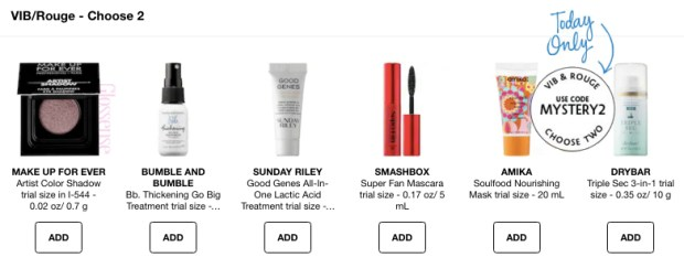 Sephora Canada Canadian Coupon Promo Codes VIB Rouge Choose Two Offers Freebies Free Samples October 2018 Mystery Deluxe Travel Samples - Glossense