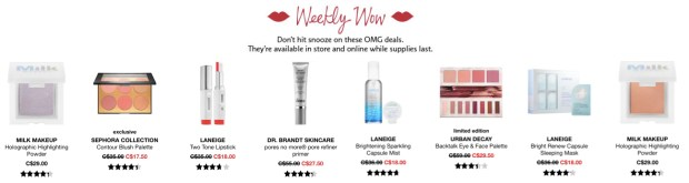 Sephora Canada Week of Wow Weekly Canadian Deals October 18 2018 - Glossense