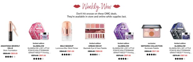 Sephora Canada Week of Wow Weekly Canadian Deals October 4 2018 - Glossense