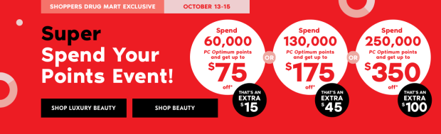Shoppers Drug Mart Canada SDM Beauty PC Optimum Points Redeem Redemption Spend Bonus October Canadian 2018 - Glossense