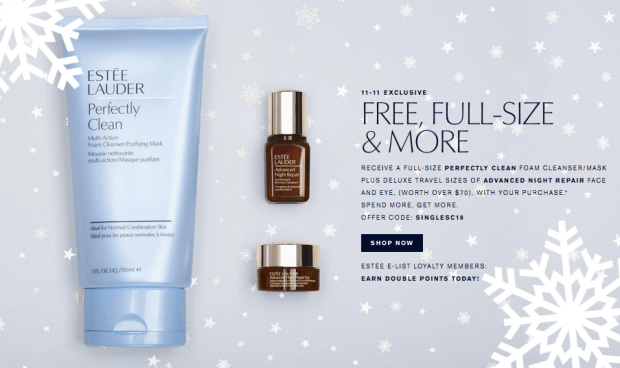 Estee Lauder Canada Canadian Singles Day Event Exclusive Offer 11 11 November 11 2018 2019 Promo Coupon Code - Glossense