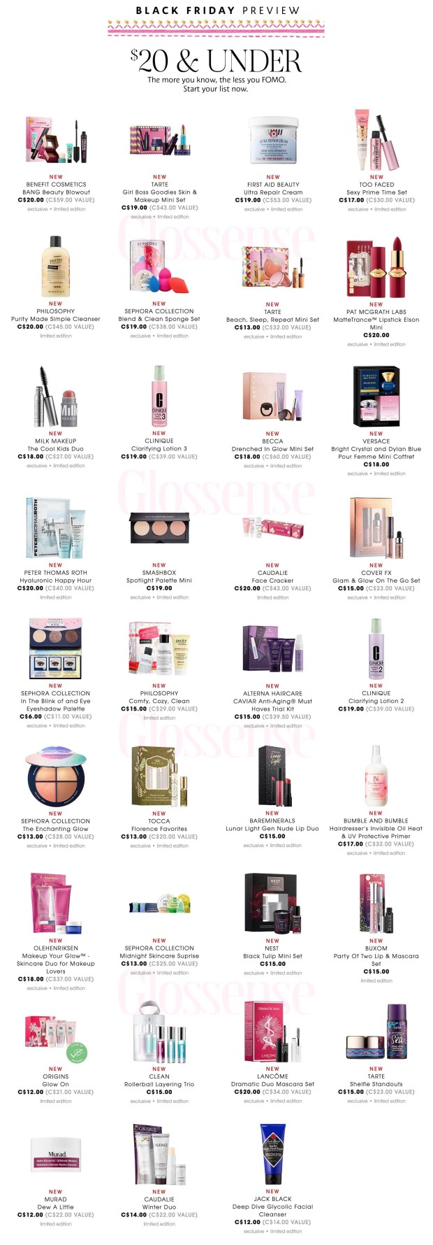 Sephora Canada 2018 Canadian Beauty Deals Black Friday Cyber Monday Full Preview Sneak Peek Sale Sales Offer Offers Promo Promos Skincare Makeup - Glossense