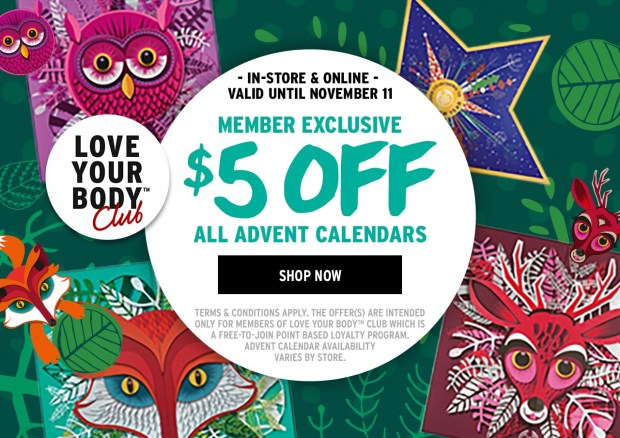 The Body Shop Canada Love Your Body Club Members Save 5 Discount Canadian Advent Calendars 2018 - Glossense