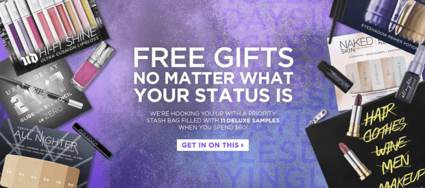Urban Decay Cosmetics Canada Coupon Promo code Free Canadian Singles Day Gift Set 11 Deluxe Free Foil Samples Free Makeup Bag - Glossense
