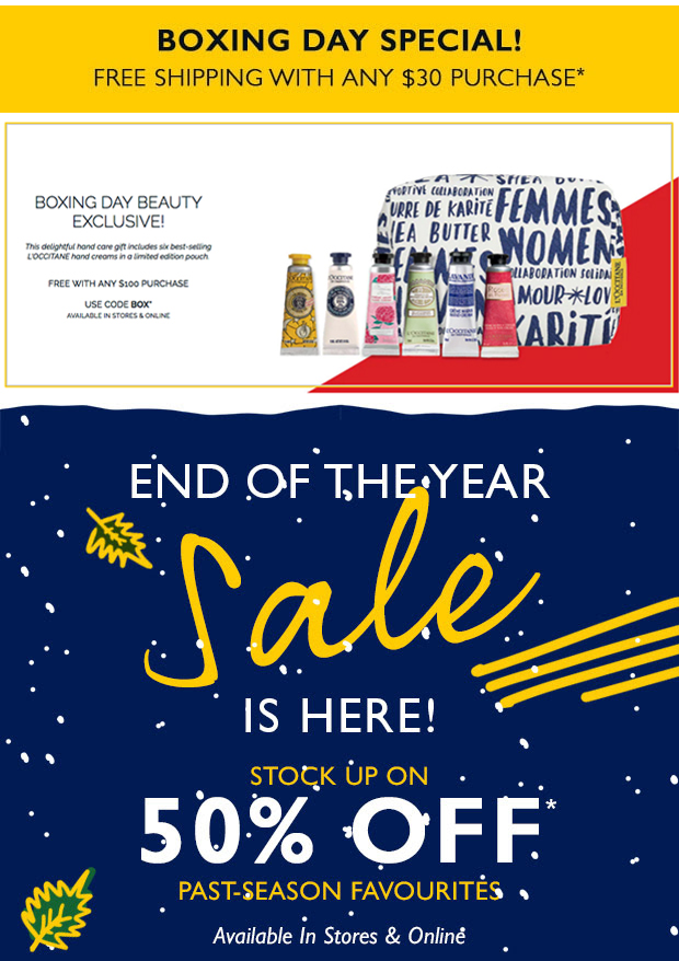 L'Occitane Canada 2018 Boxing Day Special Free Canadian Shipping Deal plus End of Year Sale Promo Offer Free Gift - Glossense