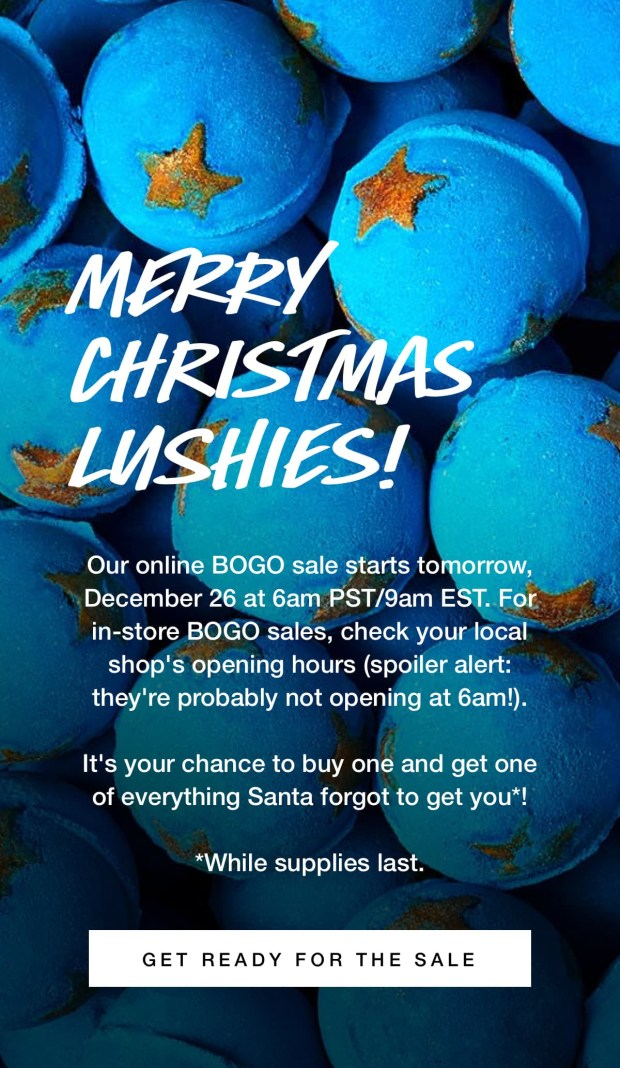 Lush Canada Handmade Cosmetics Bath Bombs Soap Canadian Boxing Day Deals Week BOGO Sale 2018 2019 Savings - Glossense