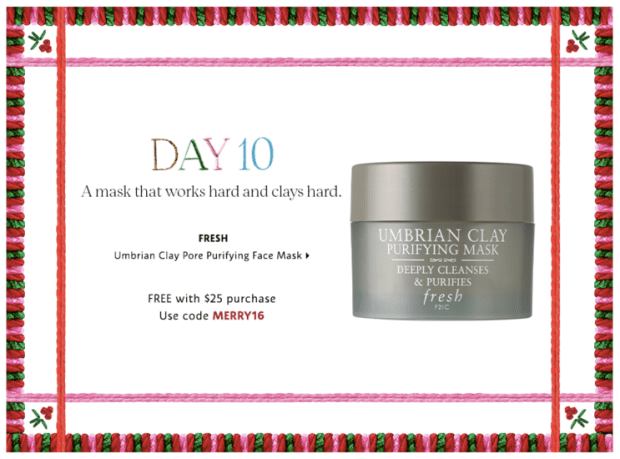 Sephora Canada Merry Mysteries 2018 Canadian Daily Free Item Freebie Freebies Promo Code Coupon Codes Christmas Holiday Beauty Insider BI VIB Rouge Bonus Offer Free Deluxe Sample Samples Mini Mini Day 10 Fresh Umbrian Clay Mask - Glossense