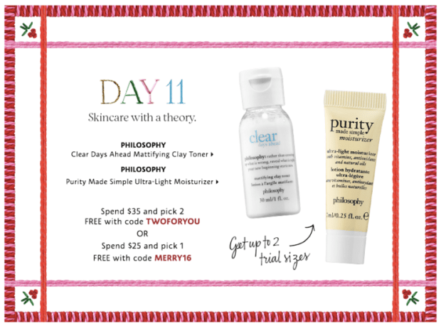 Sephora Canada Merry Mysteries 2018 Canadian Daily Free Item Freebie Freebies Promo Code Coupon Codes Christmas Holiday Beauty Insider BI VIB Rouge Bonus Offer Free Deluxe Sample Samples Mini Day 11 Philosophy Moisturizer Toner - Glossense