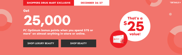 Shoppers Drug Mart Canada SDM Beauty Boutique Canadian PC Points Promo Offer Boxing Day December 26 27 2018 2019 - Glossense.png